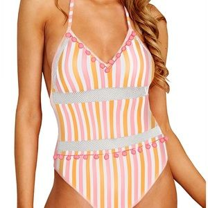 High waist striped mesh peek a boo low back NWT